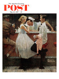 """After the Prom"" Saturday Evening Post Cover, May 25,1957 Reproduction procédé giclée par Norman Rockwell"