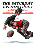 """Fumble"" or ""Tackled"" Saturday Evening Post Cover, November 21,1925 Giclée-tryk af Norman Rockwell"