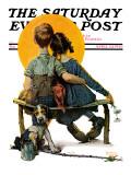 """""""Little Spooners"""" or """"Sunset"""" Saturday Evening Post Cover, April 24,1926 Trykk på strukket lerret av Norman Rockwell"""