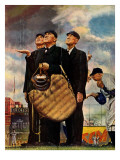 Tough Call - Bottom of the Sixth (Three Umpires), April 23, 1949 Stampa giclée di Norman Rockwell