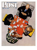 """""""Bridge Game"""" or """"Playing Cards"""" Saturday Evening Post Cover, May 15,1948 Giclee Print by Norman Rockwell"""