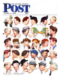 """Chain of Gossip"" Saturday Evening Post Cover, March 6,1948 Giclee-trykk av Norman Rockwell"