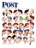 As fofocas, Chain of Gossip, capa do Saturday Evening Post, 6 de março de 1948 Impressão giclée por Norman Rockwell