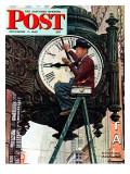"""Clock Repairman"" Saturday Evening Post Cover, November 3,1945 ジクレープリント : ノーマン・ロックウェル"