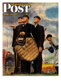 """Bottom of the Sixth""  (Three Umpires) Saturday Evening Post Cover, April 23,1949 Stampa giclée di Norman Rockwell"