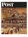 """Commuters"" (waiting at Crestwood train station) Saturday Evening Post Cover, November 16,1946 Reproduction procédé giclée par Norman Rockwell"