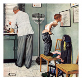 """Before the Shot"" or ""At the Doctor's"", March 15,1958 Giclée-tryk af Norman Rockwell"