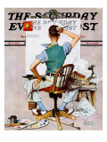 """Blank Canvas"" Saturday Evening Post Cover, October 8,1938 Reproduction procédé giclée par Norman Rockwell"