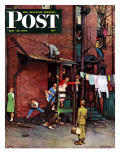 """""""Homecoming G.I."""" Saturday Evening Post Cover, May 26,1945 Giclee Print by Norman Rockwell"""