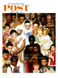 """""""Golden Rule"""" (Do unto others) Saturday Evening Post Cover, April 1,1961 Giclée-Druck von Norman Rockwell"""