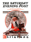 """""""Santa's Expenses"""" Saturday Evening Post Cover, December 4,1920 Giclee Print by Norman Rockwell"""