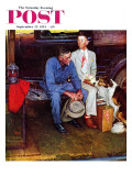 """Breaking Home Ties"" Saturday Evening Post Cover, September 25,1954 Giclee-trykk av Norman Rockwell"