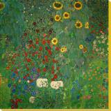 ひまわりの咲く農家の庭 1912年 キャンバスプリント : グスタフ・クリムト