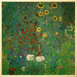 ひまわりの咲く農家の庭 1912年 額入りキャンバスプリント : グスタフ・クリムト