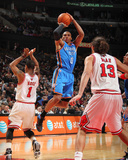 Oklahoma City Thunder v Chicago Bulls: Russell Westbrook, Derrick Rose and Joakim Noah Fotografia por Joe Murphy