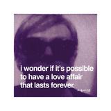 Andy Warhol, om kærlighedsaffærer, på engelsk Giclée-tryk