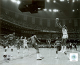 Michael Jordan shoots winning basket in UNC 1982 NCAA Finals against Georgetown Fotografía