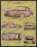 Porsche Patent Impressão em tela emoldurada