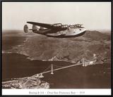 Boeing B-314 over San Francisco Bay, California 1939 Framed Canvas Print by Clyde Sunderland