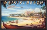Praia de Waikiki Impressão em tela emoldurada por Kerne Erickson