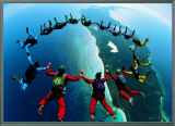 Teamwork: Skydivers II Framed Canvas Print