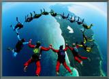 Trabalho em equipe: paraquedistas II Impressão em tela emoldurada