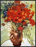 Vase with Daisies and Poppies Impressão em tela emoldurada por Vincent van Gogh