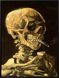 Skull with Burning Cigarette Framed Canvas Print