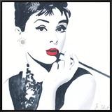 Audrey Hepburn Framed Canvas Print by Bob Celic