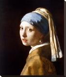 Garota com brincos de pérola Impressão em tela esticada por Johannes Vermeer