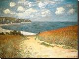 Sti gennem kornet ved Pourville, ca.1882 Opspændt lærredstryk af Claude Monet
