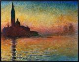 Pôr do Sol em Veneza Impressão em tela emoldurada por Claude Monet