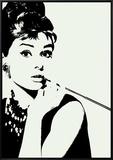 Audrey Hepburn: Cigarillo Framed Canvas Print