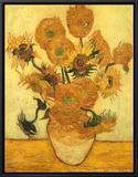 Vase of Fifteen Sunflowers, c.1889 Framed Canvas Print