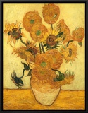 Vase of Fifteen Sunflowers, c.1889 Framed Canvas Print by Vincent van Gogh