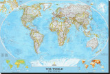 World Political Map Stretched Canvas Print