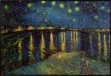 Noite estrelada sobre o Ródano, cerca de 1888 Impressão em tela emoldurada por Vincent van Gogh