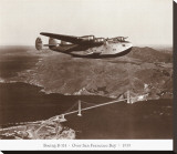Boeing B-314 over San Francisco Bay, California 1939 Stretched Canvas Print by Clyde Sunderland