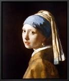 Garota com brincos de pérola Impressão em tela emoldurada