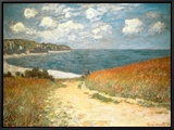 Path Through the Corn at Pourville, c.1882 Framed Canvas Print by Claude Monet