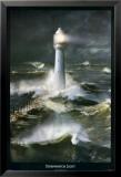 Phare et mer agitée Affiche par Steve Bloom