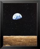 Sonnenaufgang auf der Erde, vom Mond aus gesehen Kunstdrucke