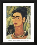 Self-Portrait with Monkey, 1938 Print by Frida Kahlo