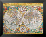 Vanha kartta, Orbis Terrarum, 1636 Julisteet tekijänä Jean Boisseau