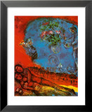 Lovers on a Red Background Prints by Marc Chagall