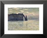 Die Klippe von Etretat, Sonnenuntergang Kunstdrucke von Claude Monet