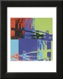 Brooklyn Bridge, ca.1983 in oranje, blauw en lime Affiches van Andy Warhol