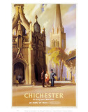 Chichester, West Sussex Clock Tower and Cathedral Plakater