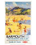 Reseaffisch – Barmouth, norra Wales, för berg, sand och hav Posters