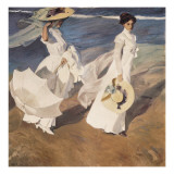 Walk on the Beach Poster van Joaquín Sorolla y Bastida